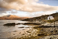 House on the slip - Kylerhea. Glenelg to Skye ferry. (JW Northern Images) Tags: sea skye ferry clouds island scotland rocks whitehouse cottage bluesky highland glenelg isle kylerhea houseontheslip
