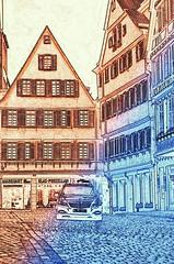 Taxi auf dem Marktplatz Tbingen (eagle1effi) Tags: old city morning germany early town nikon experiment kitlens 1855mm altstadt tuebingen tbingen deutchland wrttemberg morgengrauen d5100 dibenga gogenstadt