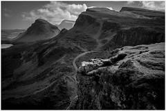 "Quiraing Landscape (steiner2009 ""AKA Dr Dust "") Tags: cloud mountain clouds landscape scotland high rocks track isleofskye path heather hill windy quiraing blackandwhitephotograph"