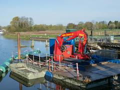 April 28/30 (Alan Pope) Tags: red water crane lock rivers repairs
