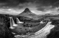Kirkjufellsfoss Dawn Monochrome and Monologue.. (Glen Sumner Photography) Tags: longexposure blackandwhite panorama cloud mist mountain mountains color nature water monochrome sunrise landscape dawn landscapes waterfall iceland moody icon vista iconic kirkjufell vast grundarfjrur leefilters kirkjufellsfoss appictureoftheweek