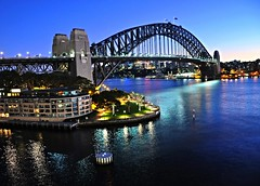 Sydney (missgeok) Tags: morning travel sea beautiful weather spectacular early scenery view sydney circularquay icon tourist bluehour favourite popular sydneyharbourbridge