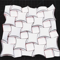 Curved version of Ron Resch square tessellation (mike.tanis) Tags: art architecture paper square design origami tessellation papercraft ronresch curvedfolding