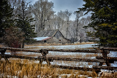 WINTER IN THE MOUNTAINS (Aspenbreeze) Tags: winter snow barn rural fence landscape countryside farm country barns wyoming woodfence oldbarn woodenbarn aspenbreeze moonandbackphotography bevzuerlein