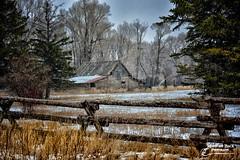 WINTER IN THE MOUNTAINS (Aspenbreeze) Tags: winter snow barn rural fence landscape countryside farm country barns wyoming woodfence oldbarn woodenbarn aspenbreeze moonandbackphotography bevzuerlein