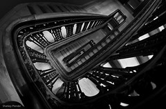 Lines & Curves - Capitol Staircase (_Sharkey_) Tags: monochrome architecture blackwhite interior capitol madison ultrawide wi linescurves rokinon8mm january2016 bwcritiquegroup copyrightsharkeyplender2016
