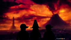Taking the Hobbits to Mordor (trwolfe13) Tags: red macro silhouette fire volcano lego depthoffield adventure forcedperspective