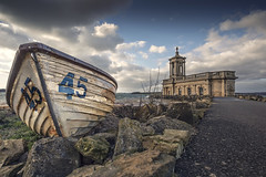 Boat At Normanton Church (cjpphotographic) Tags: longexposure sky cloud water boat wind 45 rutlandwater normantonchurch