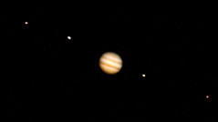 A flawed view on Jupiter and, FLTR: Europa, Ganymede, Io and Callisto (the earth turns too fast ;))