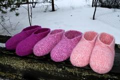 2016.02.10. blingtossut x3 2202m (villanne123) Tags: felted knitting slippers 2016 finnwool huovutettu neulottu tossut hahtuva pirtinkehraamo hahtuvatossut villanne