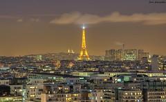 Golden Night (Jerem photographie) Tags: city paris france tower church night french lights eiffel sacrcoeur toureiffel nuit vue franais hdr ville lumires basilique paname vueparis