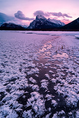 The Frost Awakens | Vermilion Lakes, Banff, Canada (v on life) Tags: winter snow canada vertical clouds sunrise frozen frost hoarfrost alberta banff frozenlake mtrundle canadianrockies vermilionlakes