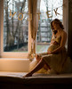 young pregnant woman sitting on the window (LAZUR tomek pietek) Tags: bear winter portrait woman white window girl look pose hair foot gold glamour women warm long child with dress legs princess body leg pregnancy pregnant belly blond curl bling spark classy expectant expectation expectancy