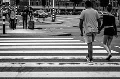 Crosswalk (Blasius Kawalkowski) Tags: road street city people bw white black lines amsterdam photography fotografie crossing candid documentary scene snap moment unposed decisive strassenfotografie zebara dukumentation