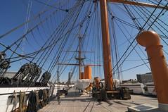 Masts and rigging. (gillybooze) Tags: sky weather boat ship navy portsmouth ropes decking rigging hmswarrior allrightsreserved blocktackle