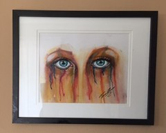 Emotions (Tinkbad) Tags: color pencil watercolor hurt eyes paint sad blueeyes crying tina depressed draw coloredpencils prismacolor emotions coloredpencil pease greif distraught greiving tinkbad tinapease