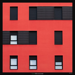 Hollywood Squares (Ilan Shacham) Tags: windows red white abstract black building window lines architecture modern square spain geometry fineart minimalism minimalist vitoria fineartphotography vitoriagasteiz cubism