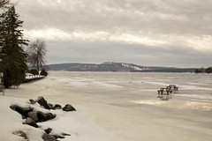one mild winter vignette (Barbara A. White) Tags: winter ontario canada landscape melting january picnictable icesheets woodlawn calabogielake
