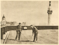 'the only green in the City' (Simon_K) Tags: old 1920s roof urban streets building green london monument grass sepia wonderful golf lost shot image lawn before holeinone days course nostalgia photograph forgotten golfing times roads putting yesterday tee scenes golfers olden trades twenties howweusedtolive photogravure lowerthamesstreet wonderfullondon stjohnadcock alarecherchedetempsperdu donaldmacleish