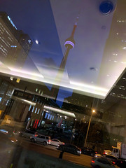the tower (Ian Muttoo) Tags: street toronto ontario canada reflection night reflections cntower gimp buehour 20160210180902edit
