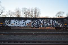 STAT PAYER (TheGraffitiHunters) Tags: street orange white black art dumpster train graffiti colorful paint tracks stat spray scrap freight payer benched benching