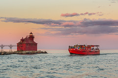 Dinner Cruise (lukejc1) Tags: moon lighthouse wisconsin night evening midwest lakemichigan greatlakes fullmoon bluehour doorcounty bluemoon sturgeonbay wisconin sturgeonbayshippingcanal sturgeonbaypierheadlighthouse