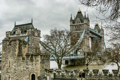 Tower Bridge from the Tower of London [Explored] (Photos By Clark) Tags: travel bridge blue england tree brick london tower water stone thames river europe unitedkingdom canon20d places location historic where nik lightroom locale canon1740 explored colorefx 170400mm