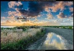 Alviso Reflections (Praveen's PRotography) Tags: sanfrancisco california sunset sky reflection water field grass clouds landscape puddle fire photo outdoor border bayarea alviso hdr earthday lightroom 2016 nikond600 photoborder