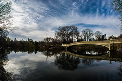 Central Park (MORA_ART) Tags: park nyc bridge trees sky lake newyork reflection nature water outdoors centralpark wideangle fisheye reflejo 8mm club16