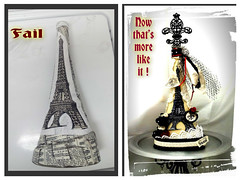 Altered Art Bottle Paris Theme (Jazzie Menagerie) Tags: roses paris eiffeltower fleurdelis netting rhinestones artbottles jazziemenagerie paintinsidethebottle