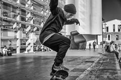 In your face! (Ruben H. Pinilla) Tags: barcelona street portrait blackandwhite bw monochrome mono nikon candid skating streetphotography spot skateboard d750 streetphoto skater macba tamronsp2470mmf28divcusd nikond750 rubenhpinilla