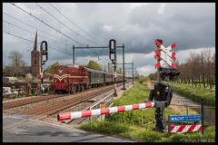 SMMR 2225+SSN rijtuigen te Schalkwijk (MyronvRuijven) Tags: boom kerk 2200 bruin schalkwijk ssn wacht 2225 spoorwegovergang smmr overweg rijtuigen ahob