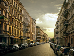 Berlin Kreuzberg (parkerbernd) Tags: road old light sunset berlin kreuzberg germany lumix dramatic facades historic panasonic bergmannstr fronts bergmannkiez chamissoplatz gx1 willibaldalexisstr