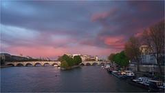Cityscape Paris (CreART Photography) Tags: street bridge blue sunset sky paris zeiss cityscape streetphotography bluesky cielo brcke seineriver carlzeiss parisbynight quaideseine bridgesofparis skyofparis batis25f2