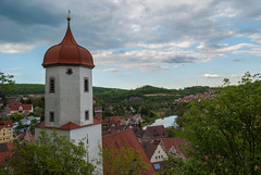 View from Harburg Castle (Igor Sorokin) Tags: travel tower wall clouds river germany bavaria town nikon europe view zoom scenic roofs telephoto 1855 nikkor harburg d40