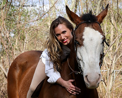 Marisa and Cody (Peter Camyre) Tags: pictures ri blue portrait horse beautiful face female canon pose hair lens island model eyes cowboy pretty shoot boots country group models posing jeans peter riding western april 5d 23 cowgirl rhode smithfield horseback mkiii 2016 camyre ef2470f28liiusm