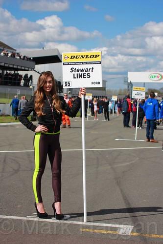 Stewart Lines' grid board during the BTCC Weekend at Donington Park, April 2016