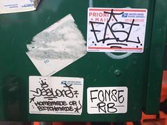 EAST x Baal x Fonse (MaxTheMightyy) Tags: nyc ny graffiti sticker stuck tag graf stickers tags tagged east vandal vandalism slap rib usps graff taggers tagging 228 vandals baal tagger slaps vandalized nygraffiti fonse nygraff baalone