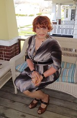 Bored Housewife (Laurette Victoria) Tags: woman dress redhead milwaukee porch housewife laurette