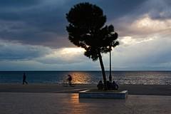 Walk, Ride or Sit? (Blues Views) Tags: ocean sunset sea tree bike bicycle walking movement sitting cloudy greece lampost thessaloniki timeless macedonian salonika makedonia  macedoniagreece