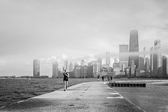Foggy Chicago (nicklaborde) Tags: sky white lake chicago black fog skyline skyscraper us illinois unitedstates michigan foggy runner bnw 500px