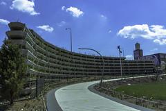 Bloomingdale Trail east pic17 4-25-2016 (Artemortifica) Tags: street bridge sky chicago cars clouds buildings construction blueline crane bikes graffity milwaukee western trucks damen