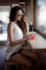 Savannah Tea (Oooah!) Tags: portrait sexy beautiful beauty sunglasses fashion model downtown texas tea gorgeous icedtea elpaso refreshing curlyhair longbrownhair modelingpose sonya7 ilce7 savannahcornejo beautifulgirlsittinginacoffeeshop