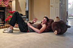 Grandson waving (SteveMather) Tags: bear teddy clean grandson dxo tall spe topaz denoise procamera smartphotoeditor vividhdr