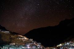 Namche Bazar night sky (Indrik myneur) Tags: nepal houses sky stars np khumbu namchebazar milkyway namche easternregion