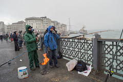 DSC_1669 (zeynepcos) Tags: bridge winter snow man cold ferry fire fishing fisherman outdoor istanbul galata karakoy eminonu