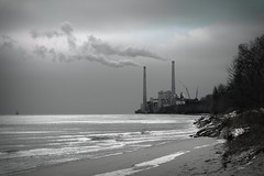 February Morning (imageClear) Tags: winter lake cold monochrome beauty wisconsin aperture nikon flickr towers lakemichigan smokestack february sheboygan photostream 80400mm d600 electricplant generatingstation imageclear edgewatergeneratingstation