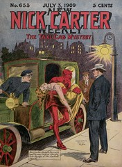 """The taxicab mystery, or, Nick Carter closes a deal"" in New Nick Carter weekly (New York, N.Y. : 1903), no. 653 (niudigitallibrary) Tags: taxicabs nickcarter tarantulas dimenovels popularliterature streetandsmith northernillinoisuniversitydigitallibrary mephistopheleslegendarycharacter"