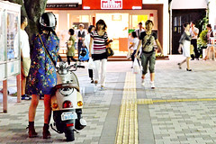 Scooter and Girl :  (Dakiny) Tags: street city autumn japan september kanagawa 2012 saginuma kwasasaki