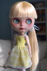 Finn in Vintage Skipper (Chassy Cat) Tags: blue fashion vintage skipper blonde blythe custom takara sme sbl eyechips samedimarcheencore chassycat